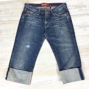Big Star Trace Cropped Rolled Hem Denim Jeans